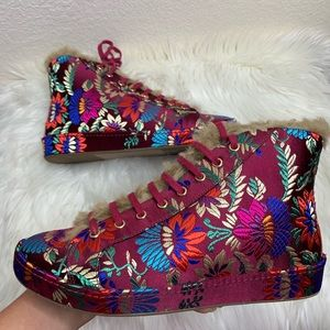 New Joie Floral Embroidered High Top Sneakers